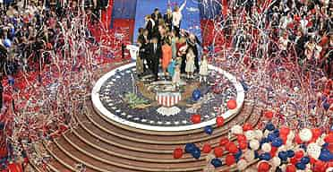 The 2004 Republican national convention, where the winner of the party's state primaries is unveiled. Photograph: Stephan Savoia/AP