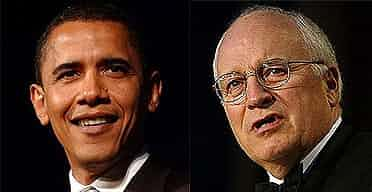 Barack Obama and Dick Cheney. Photographs: Jessica Hill/Lawrence Jackson/AP
