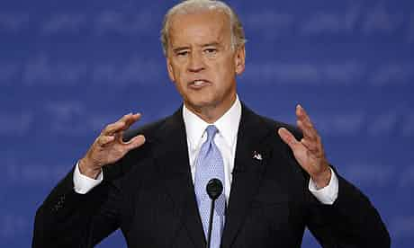 Joe Biden speaks during the vice presidential debate in St Louis, Missouri on Thursday. Photograph: Jeff Roberson/AP