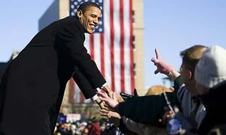Barack Obama is greeted by supporters in Springfield, Illinois in February 2007 as he formally announces that he running for president. Photograph: Tannen Maury/EPA
