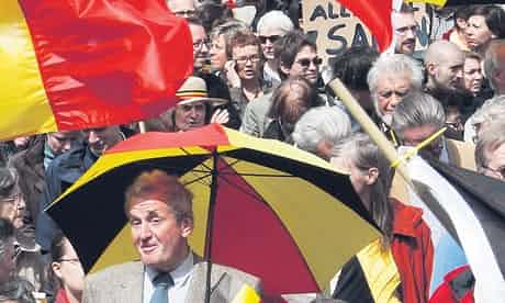 A rally in Brussels last month calls for Belgian unity. Photograph: Thierry Roge/Reuters