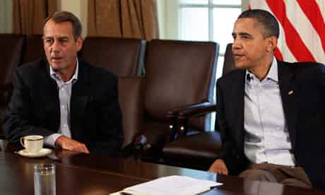 President Barack Obama and the House Speaker John Boehner attend a meeting about the debt ceiling. Photograph: Yuri Gripas/Reuters