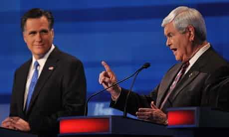 Mitt Romney and Newt Gingrich in the Fox debate. Photograph: Paul J. Richards/AFP/Getty Images