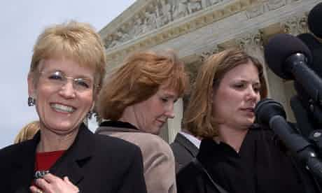 Affirmative action challenger Jennifer Gratz (right), with Barbara Grutter and (left) University of Michigan president Mary Sue Coleman, outside the US supreme court in Washington, DC, in 2003. Photograph: Susan Walsh/AP