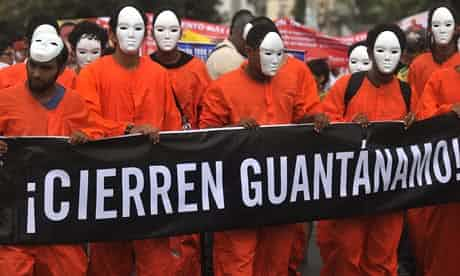 Demonstrators call for the closing of Guantánamo during a protest at the Summit of the Americas in Cartagena, Colombia. Photograph: Christian Escobar Mora/EPA