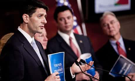 Republican Congressman Paul Ryan, with his budget plan, which would slash social spending – though that has not deterred the support of presidential candidate Mitt Romney. Photograph: TJ Kirkpatrick/Getty Images