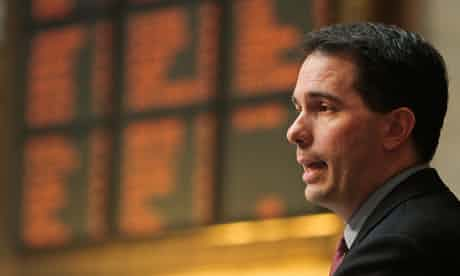The vote to recall Wisconsin governor Scott Walker takes place on Tuesday. Photograph: Andy Manis/AP