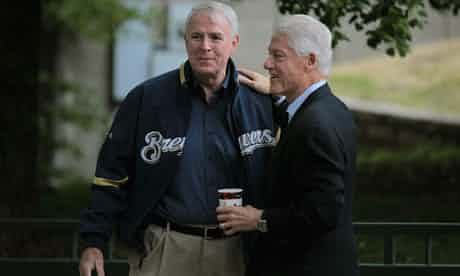 Bill Clinton with Milwaukee mayor Tom Barrett at a rally for Barrett, who is trying to unseat Governor Scott Walker in Milwaukee. Photograph: Scott Olson/Getty