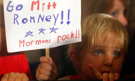 Three-year-old Dean Call holds a sign for Romney at a rally in Columbia, South Carolina, in January. Photograph: Brian Snyder/Reuters