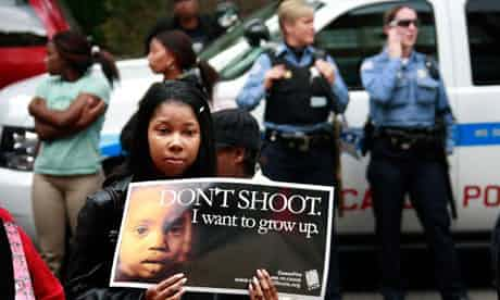 A young Chicagoan campaigns against the wave of shootings that is blighting her city. Photograph: Scott Olson/Getty Images
