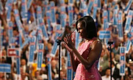 Michelle Obama returns the crowd