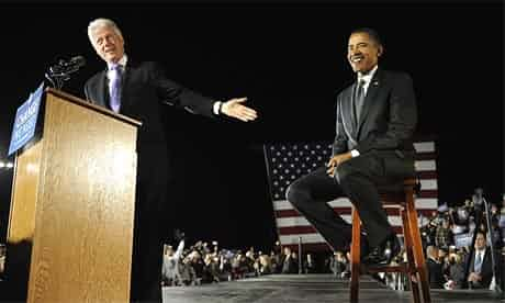 Bill Clinton ended up campaigning for Barack Obama in 2008, here at a rally in Kissimmee, Florida, but tensions persisted. Photograph: Emmanuel Dunand/AFP/Getty