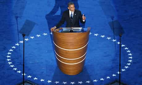 Barack Obama accepts his nomination at the Democratic national convention for a second term in office. Photograph: Getty
