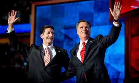 Mitt Romney and Paul Ryan wave to supporters at the Republican national convention in Tampa. Photograph: Orjan F Ellingvag/Corbis