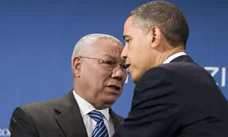 Barack Obama greeting former Secretary of State Colin Powell in 2010. Powell endorsed Obama for president again, in 2012. Photograph: Jim Watson/AFP/Getty Images