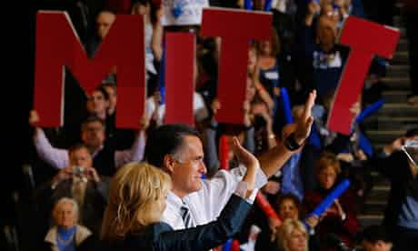 Republican presidential nominee Mitt Romney and his wife Ann wave to the crowd at a campaign rally in Cleveland, Ohio. Photograph: Brian Snyder/Reuters