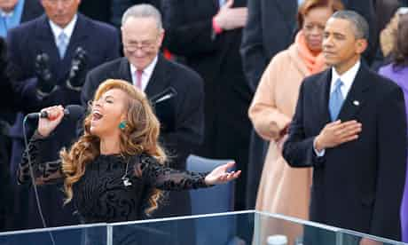 Beyoncé lip-synchs the US national anthem at the Obama inauguration last week. Photograph: Jim Bourg/REUTERS