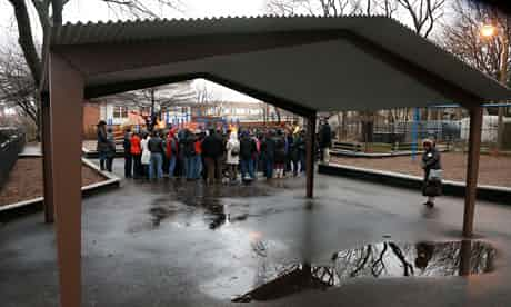 Hadiya Pendelton was shot dead in this playground shelter on January 30 in Chicago. Photograph: Charles Rex Arbogast/AP