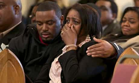 Shirley Chambers, whose four children all died from gun violence, at the funeral of her son. Photograph: John Gress/Reuters