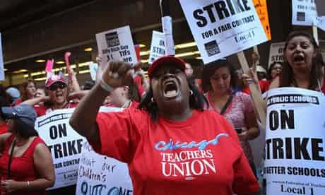 Chicago public schools began the year with a teacher strike, and officials are bracing for another major disruption on Wednesday. Photograph: Scott Olson/Getty Images