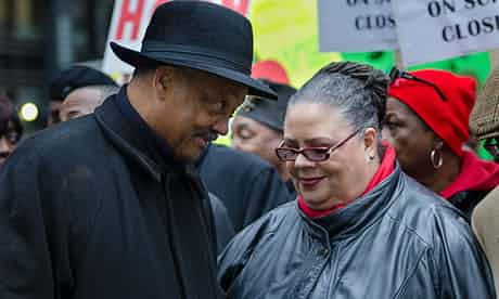 The Rev Jesse Jackson and Karen Lewis, president of CTU Local 1, at the Chicago school closures protest. Photograph: James Fassinger for the Guardian