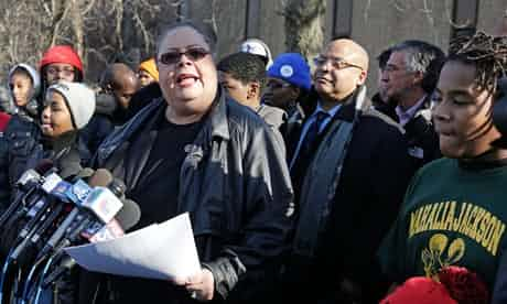 The Chicago Teachers Union president, Karen Lewis, speaks outside the Mahalia Jackson elementary school. Photograph: M Spencer Green/AP