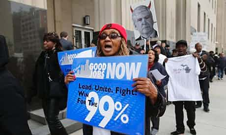 Protesters in Detroit, Michigan, rally against cuts. 'Black infant mortality in the city is on a par with Syria (before the war).' Photograph: Rebecca Cook/Reuters