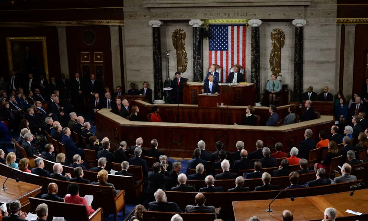 US president Barack Obama delivers his State of the Union address. Photograph: Jewel Samad/AFP/Getty Images