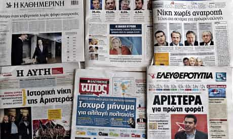 Greek newspapers in Athens after the European parliament elections. 'In six countries, socialist-oriented groups critical of neoliberal globalisation got double figures, including Syriza, which topped the poll in Greece.' Photograph: Louisa Gouliam