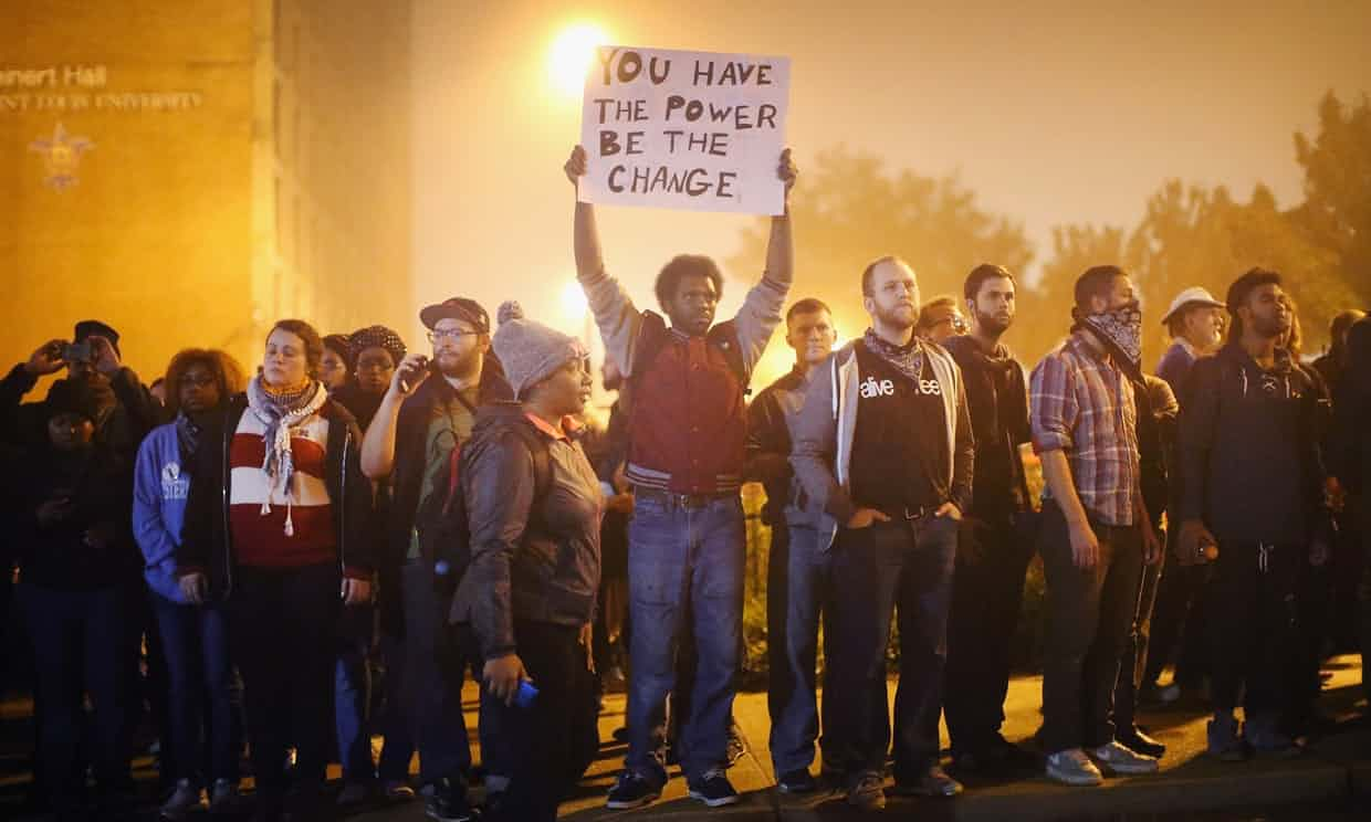 Demonstrators march in St Louis, Missouri, but police shootings and racism have been absent from the midterms. Photograph: Scott Olson/Getty Images