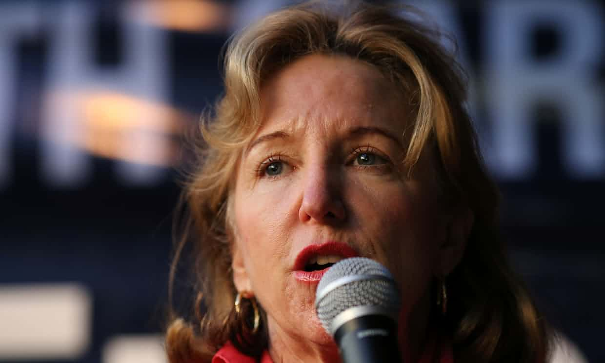 Kay Hagan addresses a crowd on the campaign trail in Rocky Mount, North Carolina, on Wednesday. Photograph: Adam Jennings/AP