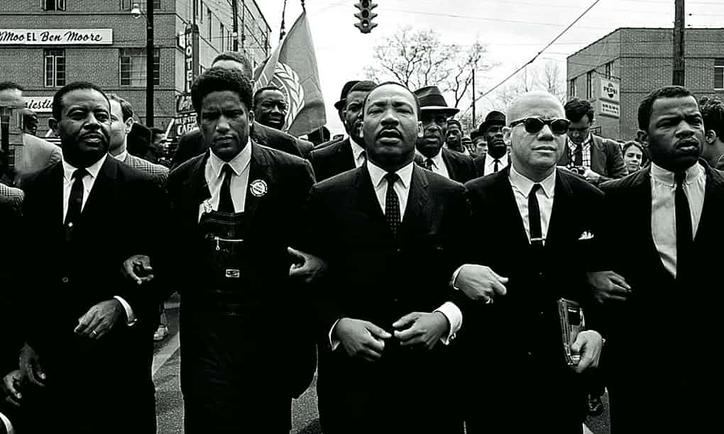 Martin Luther King leads the march. Photograph: Stephen F Somerstein/Getty