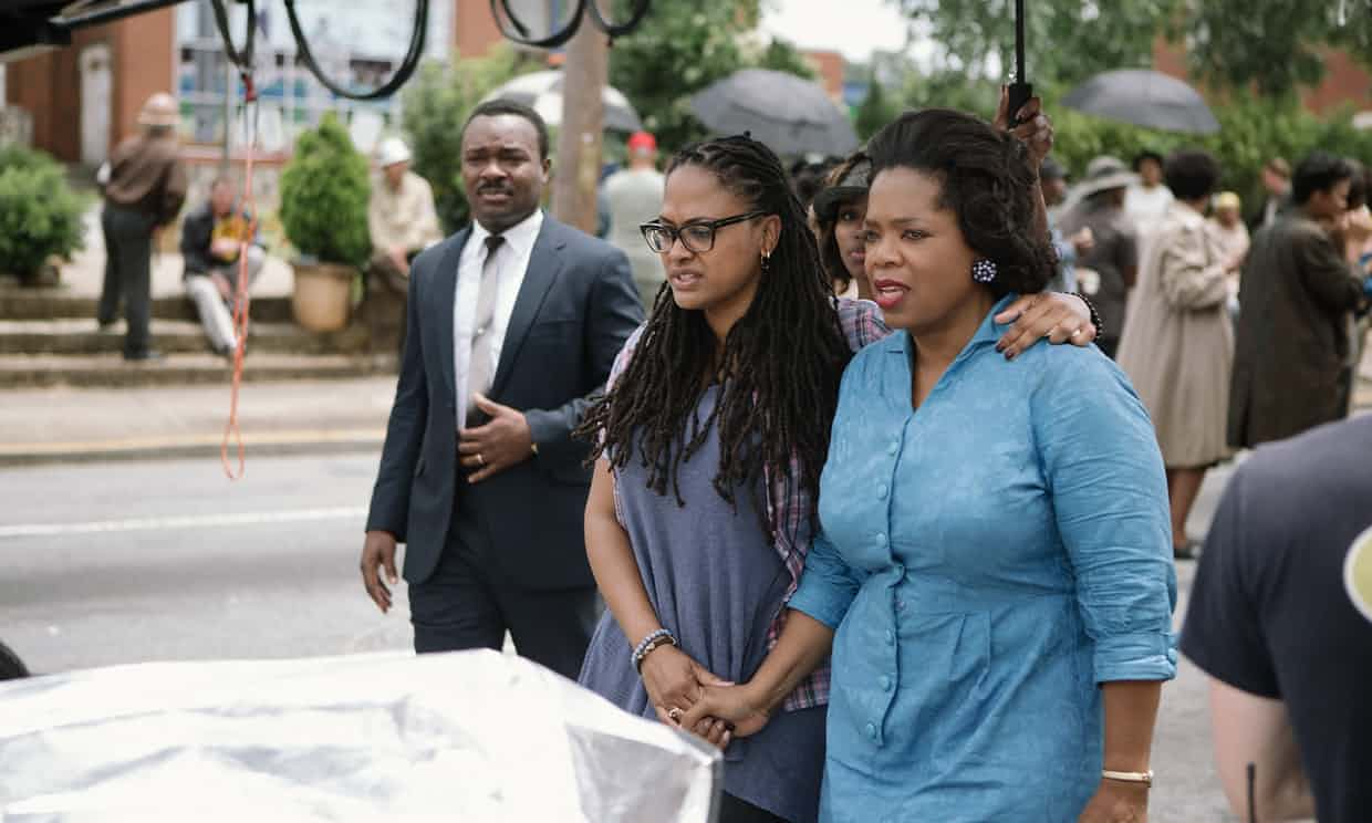 David Oyelowo, Ava DuVernay and Oprah Winfrey on set. Photograph: Atsushi Nishijima/Paramount
