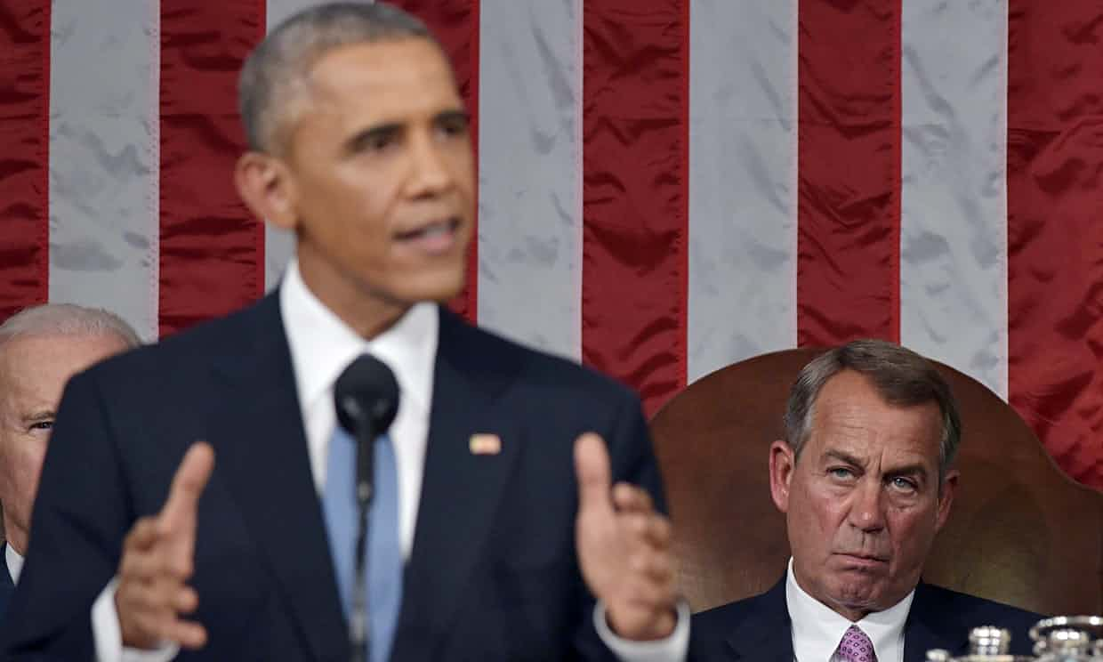 No compromise: the Republican Speaker of the House of Representatives, John Boehner, listens as Barack Obama delivers the State of the Union address last month. Photograph: Getty Images