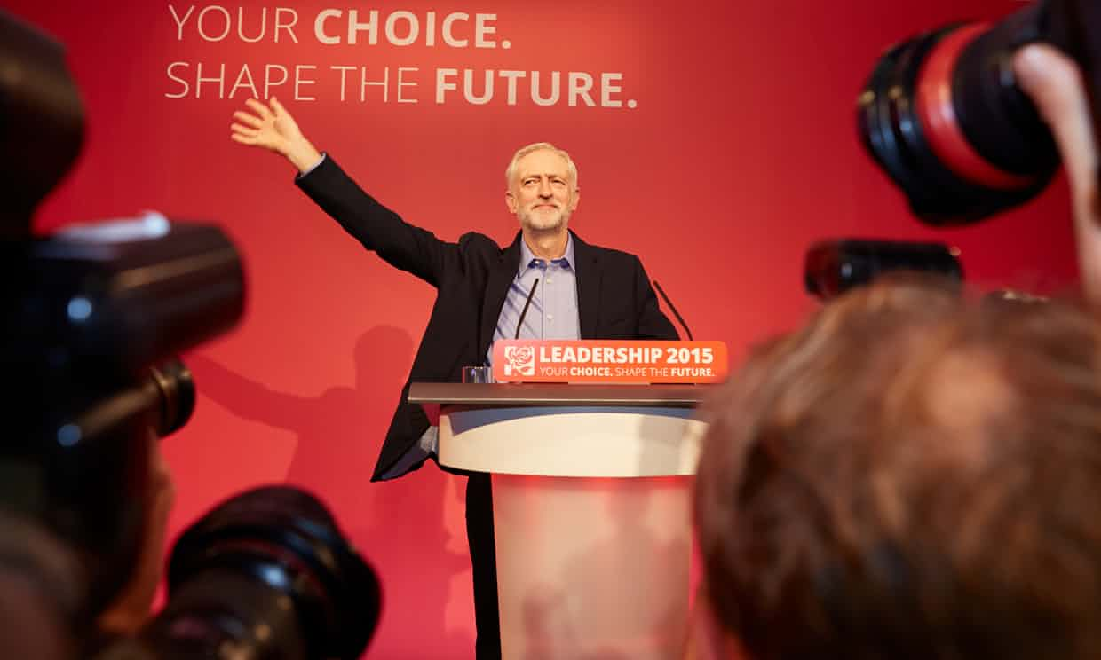 Jeremy Corbyn is announced as the new leader of the Labour party. Photograph: Andy Hall for the Observer