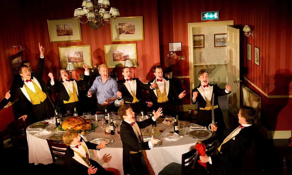 An Oxford dining society portrayed in the play Posh. 'Cameron's participation in the Bullingdon Club is dismissed as youthful high jinks.' Photograph: Tristram Kenton for the Guardian