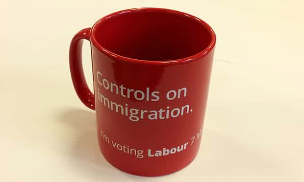 'The Tories brazenly stoke popular prejudice, while Labour cravenly submits to it (see Ed Miliband's mug).' Photograph: Labour