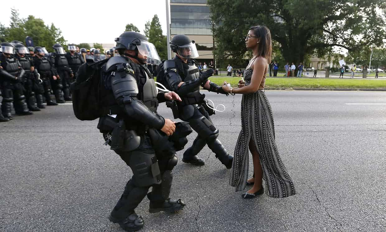 'In America, the gap between rich and poor and black and white is growing.' Black Lives Matter protester Ieshia Evans being arrested in Baton Rouge, Louisiana, on 9 July 2016. Photograph: Jonathan Bachman/Reuters