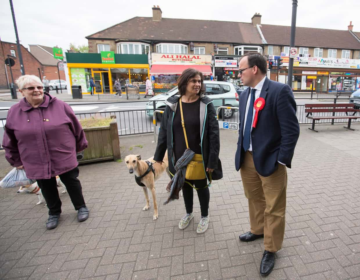 Thomas out canvassing in Harrow. Photograph: Graeme Robertson for the Guardian