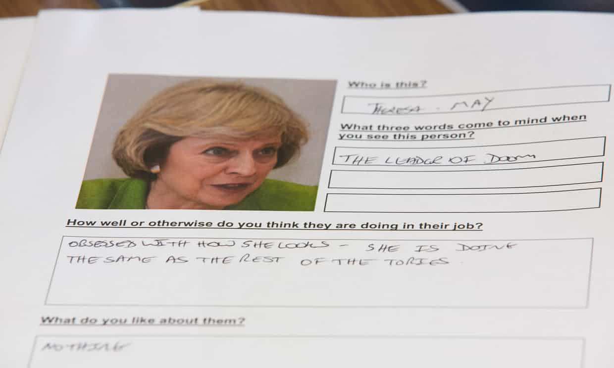 Part of a questionnaire at the focus group. Photograph: Graeme Robertson for the Guardian