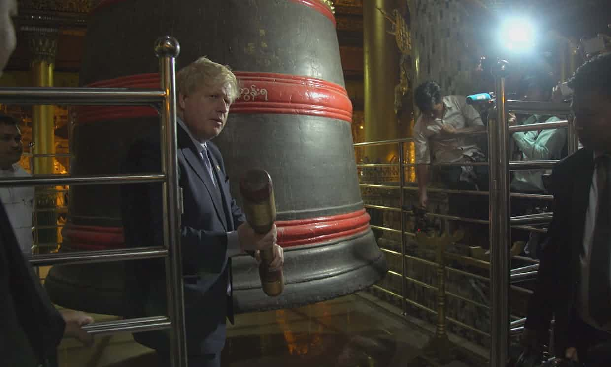 Boris Johnson recites a Kipling poem at a temple in Yangon last Semptember. Photograph: ITN
