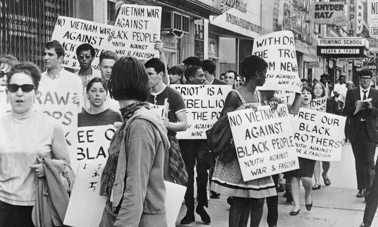 A 1967 protest about the use of federal soldiers during riots in New Jersey. Photograph: Three Lions/Getty Images