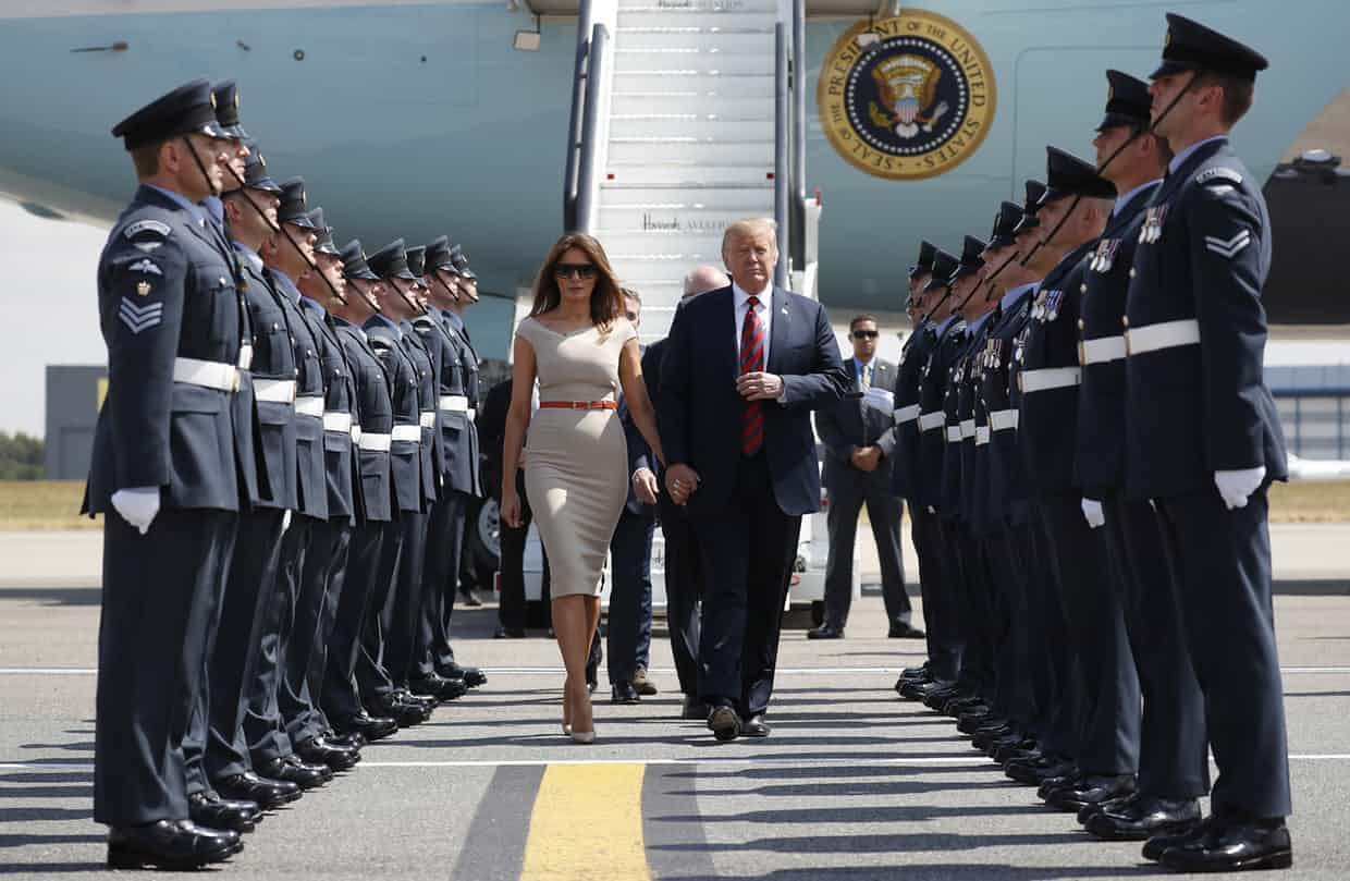 President Trump and his wife Melania step off Air Force One. 'He may not know how to make friends, keep them or treat them, but he needs them all the same.' Photograph: Pablo Martinez Monsivais/AP