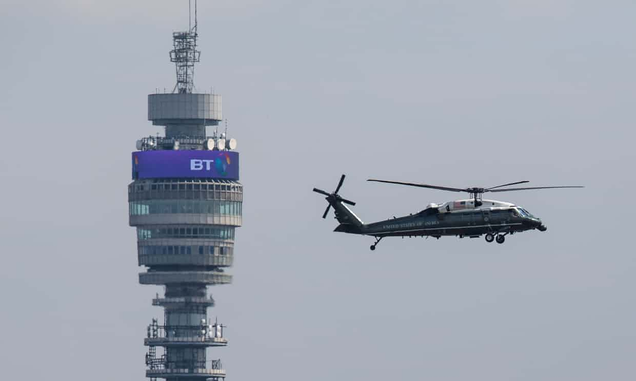 The Marine One helicopter carrying Donald Trump into London. Photograph: Jack Taylor/Getty Images