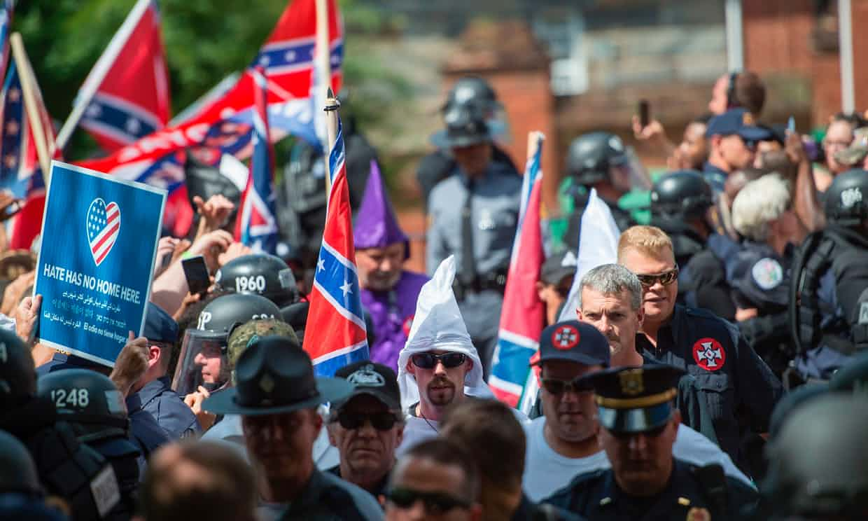 A far-right rally in Charlottesville, Virginia, in defence of southern Confederate monuments, on on 8 July 2017. Photograph: Andrew Caballero-Reynolds/AFP/Getty Images