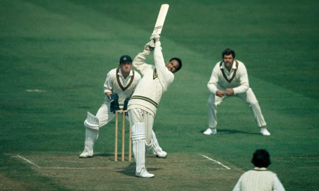 The joy of six: Sir Garry Sobers at the crease for Nottinghamshire in 1971. Photograph: Patrick Eagar/Popperfoto/Getty Images