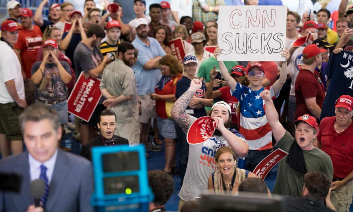 'When pipe bombs are sent to CNN, it should be understood as one of the most violent examples yet of a democracy that has long been under threat.' Photograph: Sean Rayford/Getty Images