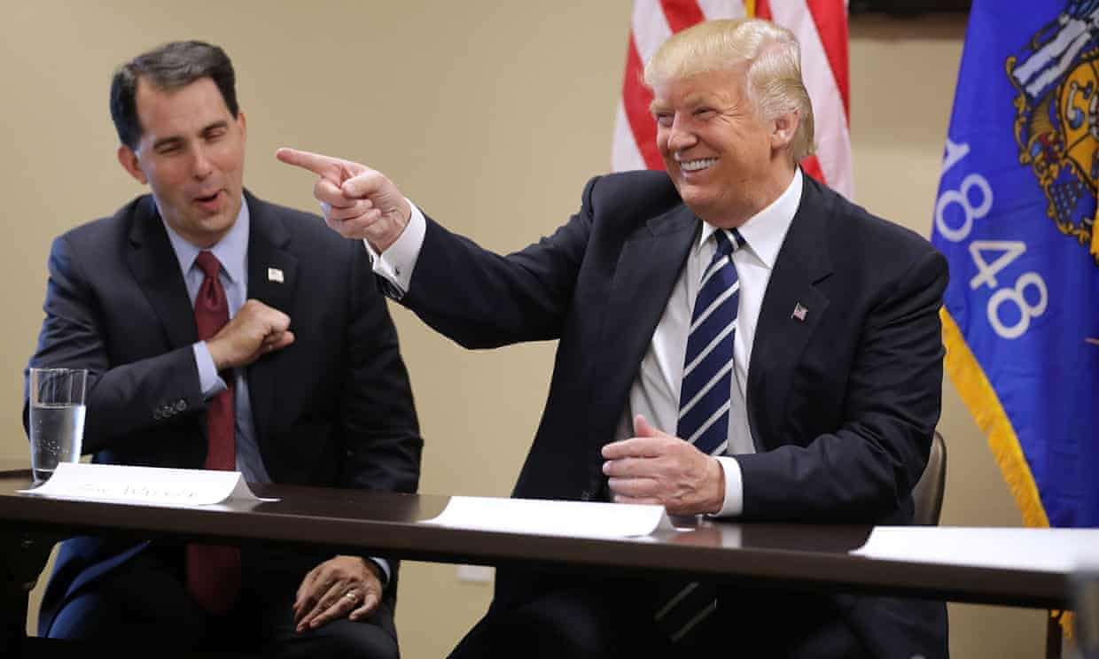 Scott Walker with Donald Trump in 2016. If the mood among Democrats in Wisconsin is cautious optimism Republicans are grappling with frustrated inevitability. Photograph: Chip Somodevilla/Getty Images