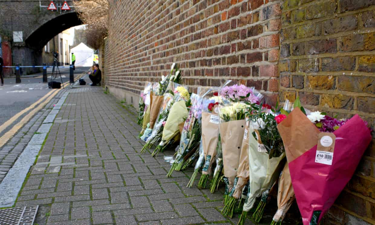 Flowers laid after the fatal stabbing of Israel Ogunsola, 18, in a London street in April this year. Photograph: Justin Griffiths-Williams/REX/Shutterstock/Rex/Shutterstock