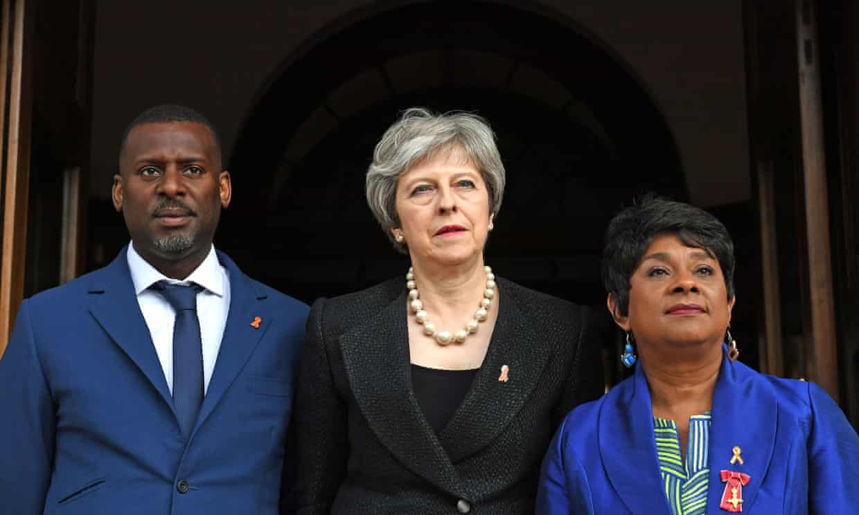 Baroness Lawrence (right) and her son Stuart with prime minister Theresa May before a memorial service to mark the 25th anniversary of the murder of Stephen Lawrence. Photograph: Victoria Jones/PA